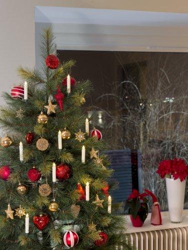 Konstsmide 1905-100 LED - 5 velas de adorno para árbol de navidad (plástico y cristal, 5 diodos blancos, 5 pilas AA incluidas, 1,5 V, 13 cm)