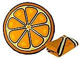Haus und Deko Badetuch 150 cm Rund Beach Strand-Tuch Decke Liegetuch Soft Weich Strandlaken Handtuch Frucht Orange