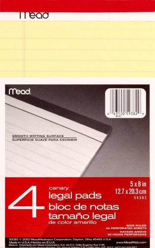Mead Canary Junior Legal Pads, 5 x 8 Inch, 50 Sheets (59382) by Mead