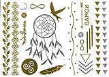 Flash Tattoo Dream Nature Sheet 1 | Traumfänger Unendlichkeitszeichen Volgel Feder | Temporäres Tattoo mit 20 gold und silber Motive | Weitere Designs verfügbar