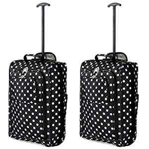 Set of 2 Super Lightweight Cabin Approved Luggage Travel Wheely Suitcase Wheeled Bags Bag