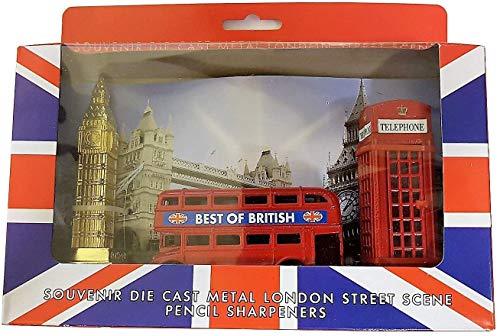 London Street Scene 3Anspitzer Set-Die Cast Metall Druckguss/UK Souvenir/Red Telephone Box/Routemaster Doppeldecker Bus/Big Ben/Union Jack Box/Schule Office Home British Geschenkidee -
