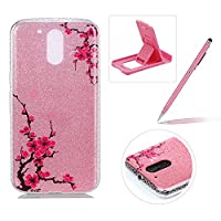 For Moto G4/G4 Plus Slim Fit Case,For Moto G4/G4 Plus Bling Glitter Case,Herzzer Luxury Stylish [Peach Blossom Pattern] Glitters Shiny Clear Soft Gel TPU Silicone Case Scratchproof TPU Bumper Protective Back Cases Cover For Moto G4/G4 Plus + 1 x Free Pink