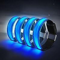 4 Stück LED Armband, Alviller Reflective Led leucht Armbänder Lichtband Kinder Nacht Sicherheits Licht für Laufen Joggen Radfahren Hundewandern Running Jogging und andere Outdoor Sports (Blau)