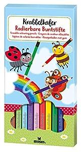 moses 16123 - Lápices de Colores borrables, 12 lápices en Colores Brillantes, para niños, Multicolor