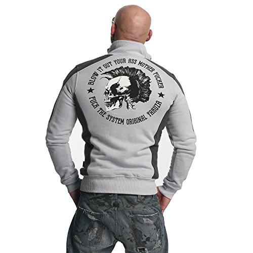 Yakuza Original Herren Punx Two Face Trainingsjacke Zipper gray dawn