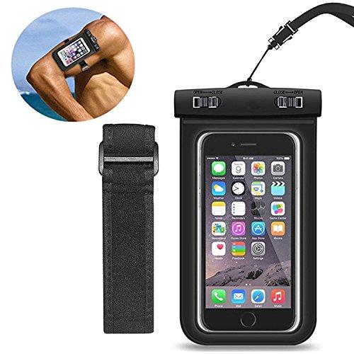 """Custodia Impermeabile[IPX8 Certificato], EUGO Custodia Cellulare Impermeabile Universale 6 Pollici con bracciale per Huawei P10/P10 Lite/P9/P9 Lite/P8 Lite 2017/Honor 8 Pro,Samsung Galaxy S8/S7/S7 Edge/S6/S6 Edge/Edge+, iPhone 7, 7 Plus,6s/6, 6s Plus/6 Plus, SE 5S 5C, Note 5/4/3/Edge, Nexus, ASUS, LG, HTC, Sony Xperia, Motorola ed Smartphone Uguale o Inferiore a 6"""",ecc - (Nero)"""