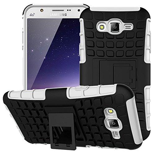 Preisvergleich Produktbild Nnopbeclik Samsung Galaxy J5 (2015) Hülle,  Dual Layer Rugged Armor stoßfest Handy Schutzhülle Silikon Tasche für Samsung Galaxy J5 (2015) - Weiß + 1x Display Schutzfolie Folie