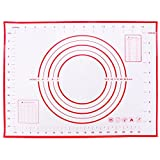 calistouk 30x40cm Ausrollmatte Küche Backen Zubehör Silikon Tablett Teig für Fondant und Backmatte als Teigmatte und Backunterlage Rolling, rot