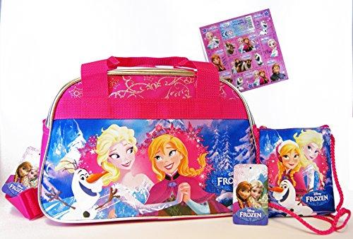 'disney–frozen/la regina di ghiaccio 2pezzi super set–borsa da viaggio/borsa sportiva/asilo di tasche (34x 22x 21cm) + bambini borsetta/taschino/portafogli (14x 12cm) + sticker # 3der art sticker collection