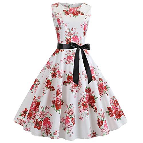 GOKOMO Damen Neckholder 1950er Vintage Retro Rockabilly Kleider Petticoat Faltenrock Cocktail Festliche Kleider(Wein-Q,Small)