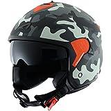 Astone Helmets Casco Jet Mini, diseño de soldado, color Gris, talla S