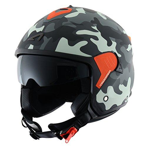 Astone Helmets Casco Jet Mini, diseño de soldado, color Gris, talla M