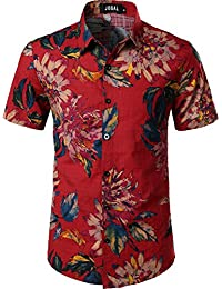 700db242d49494 JOGAL Mens Flowers Casual Aloha Hawaiian Shirt
