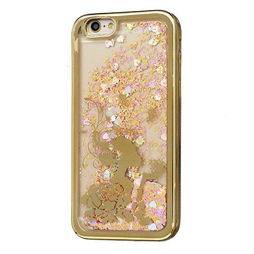 Coque iPhone 5S , Glitter Liquide TPU Etui Coque pour iPhone SE ,CaseLover Fee Motif Mode Etui Coque Dynamic Etoiles Paillettes Sable TPU Slim pour Apple iPhone 5 / 5S / SE Mode Flexible Souple Soft C Fee