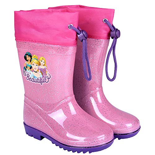 PERLETTI Disney Princess Rain Boots Kids - Girls Waterproof Wellies Shoes with Anti Slip Outsole - Pink and Fuchsia Details with Cinderella Rapunzel and Jasmine