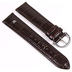 Maurice Lacroix Watch Band Leather Kalf Louisiana Croco-look dark brown 22315S, width:14mm