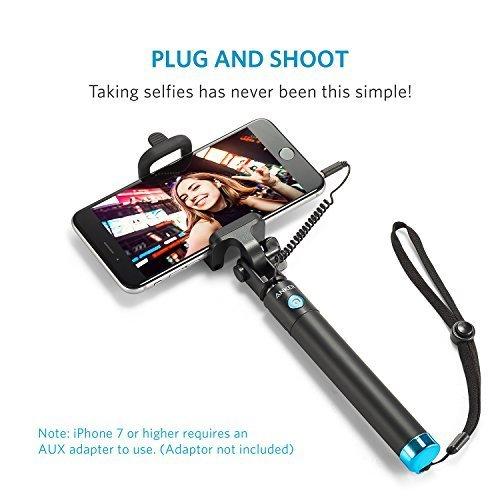 Anker Selfie Stick, Verstellbare Selfie-Stange, ohne Akku, mit Kabel, für iPhone 6s/6/5, Galaxy, Nexus und viele mehr, in Schwarz - 4