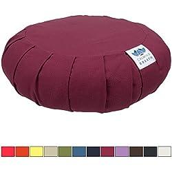 CalmingBreath Zafu Cojín de Meditación, Algodón - Alforfón Lleno - Grandes Colores