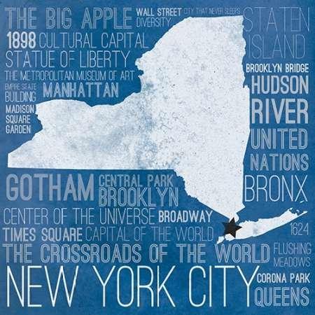 Feeling at Home Feelingathome.it-LEINWANDDRUCK-New-York-Karte-Border-cm52x52-poster-bild-auf-leinwand
