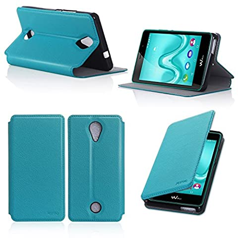 Etui Wiko Jerry 2 turquoise luxe Ultra Slim Cuir Style avec stand - Housse Folio Flip Cover coque de protection Wiko Jerry2 bleu turquoise smartphone 2017 / 2018 - Accessoires pochette XEPTIO : Exceptional case !