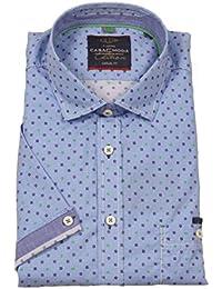 Modisches Kurzarm Hemd mit Kent Kragen von Casa Moda, blau