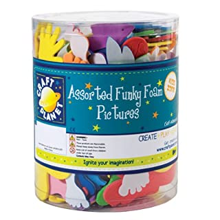 Craft Planet Self Adhesive Funky Foam Picture Tub, Assorted Colours
