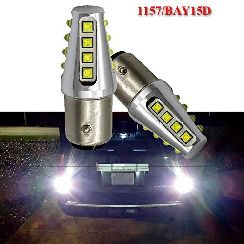 Preisvergleich Produktbild Ruiandsion LED-Blinkerbirnen 1157 6000K Weiß DC 12-24V CREE 16SMD LED-Chip-Lampen Ersatz für Auto-Bremslicht-Rückfahrleuchte DRL Standlicht (2er Pack)