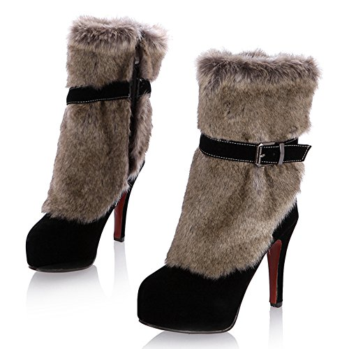 COOLCEPT Femmes Mode Fete Bottes Fermeture Eclair Black