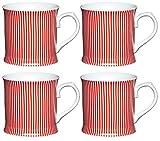 Kitchen Craft Feine Streifen Becher aus Porzellan, Rot (4Stück),