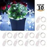 Pawaca 10 STÜCKE 2 M 20 LED Lichter String Fashion Fairy Sternen Lichterketten für Hochzeit Geburtstag Dekoration Arbeit mit 2 Knopfzellen Nicht Enthalten(Weiß)