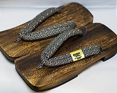 [Japón Hecho] para hombre Geta Paulownia sandalias de madera tradicional de calzado básica Negro Diseño Talla L