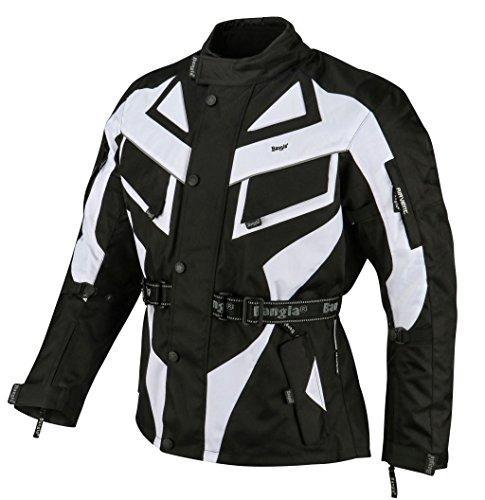 Ledershop-online Bangla Motorradjacke Touren Motorrad Jacke Textil Schwarz Weiss 1535 XXL Tour Jacke