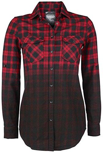 Black Premium by EMP Checked Dip Dye Shirt Girl-Hemd Rot/Schwarz M (Rotes Dip Dye)