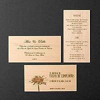 Invitaciones en madera 20x10x0,1cm. para Bodas y todo tipo de eventos. Se vende en packs de 10, 50, 100, 150, 200 unidades