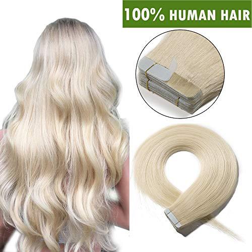 Extension biadesive capelli veri 20 fasce adesive tape extensions con biadesivo 100% remy human hair biondi umani lisci 50g/pack senza clip (40cm, biondo platino)