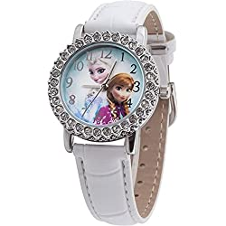 Disney Frozen Children's Quartz Watch with Multi-Coloured Dial Analogue Display and White PU Strap FROZ5