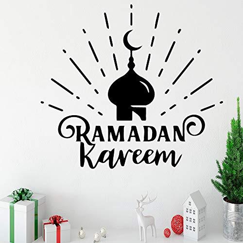 Lustige ramadan kareem wandaufkleber pvc abnehmbare für schlafzimmer dekoration wandbild custom-62x56cm