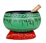 #5: Kartique Tibetan Singing Bowl Religious Gifts Item For Meditation 9 Inches | Buddhist Decor | Two Mallets | Cushion