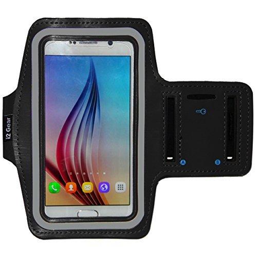 i2 Gear Galaxy S8 S6/S6 Edge, iPhone X - Running & Übung Armband mit Schlüsselhalter & reflektierendes Band (S8, Schwarz)