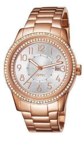 Esprit Damen-Armbanduhr Glamonza Analog Edelstahl Rotgold ES105432006
