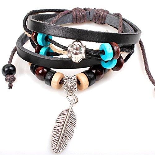 Sunnywill Neuen indischen Stil Holzperle Handgelenk Armband Leder Feder Schmuck für Mädchen Frauen Damen (A)