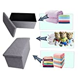 from Kealive Ottoman Storage, Kealive Folding Fabric Ottoman Stool Bench Saving Space 76 x 37 x 34 cm, Grey