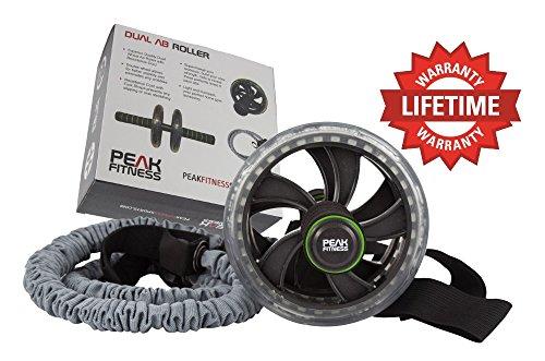 Ab Roller Peak Fitness con elastico e cinghie per i piedi, e comoda impugnatura - una ruota per addominali perfetta per un ottimo esercizio del tronco.