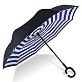 HISEASUN C-förmigen Hands Free Handle Umgekehrten Umbrella, Double Layer Umgekehrten Standing Inside Out Regenschutz Regenschirm (Streifen Marineblau)