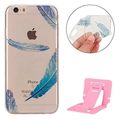 Coque iPhone 6 Plus,Apple iphone 6S Plus Coque en Soft Silicone TPU Transparente,Ekakashop Mignon Plume Bleu Dessin Ultra Mince Slim-fit Soft Flexible Crystal Clair Souple Gel Housse Coque Protecteur Back Cover Defender Bumper pour Apple iPhone 6 Plus / 6S Plus 5.5 Pouces + 1X cartes gratuites se tiennent (couleur