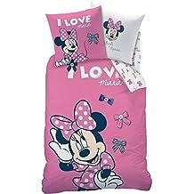 Minnie Mouse Chica Ropa de cama franela/franela · I Love Loops · Reversible Diseño con lazos en color rosa–Almohada 80x 80+ Funda Nórdica 135x 200cm–100% algodón