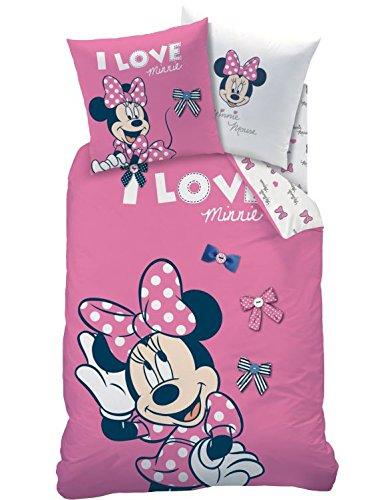 Biancheria da letto in flanella · i love loops · rosa con motivo minnie, federa 80x 80+ copripiumino 135x 200cm–100% cotone