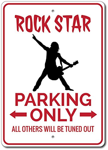 Rock Star Parking Sign, Rock Star Sign, Rock Star Geschenk für Musiker Zeichen, Rock Star Decor, Rock & Roll,–Qualität Aluminium Qualität Aluminium Schild, Aluminium, 2) 12
