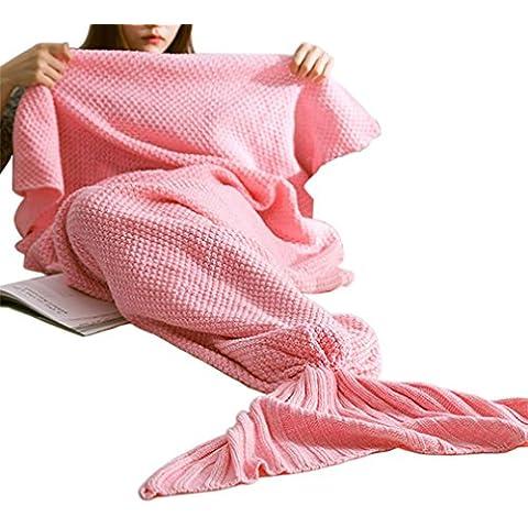 Sirena manta, phifo cola de sirena manta ganchillo y sirena manta para adultos y niños traje para todas las estaciones., Rosa,